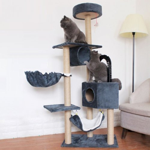 Cat Climbing Multi-layer Tower Playhouse With Hairball Hammock And Stairs