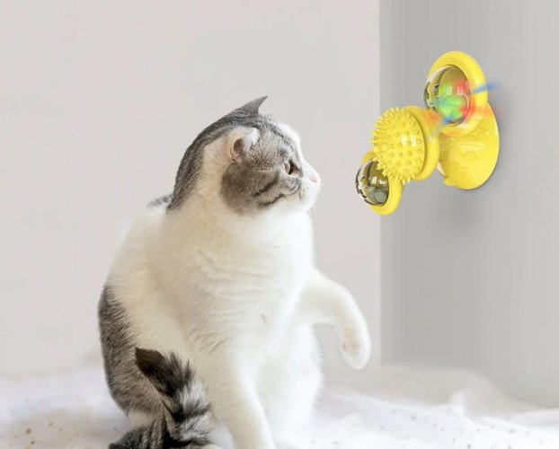Windmill Cat Toy Turntable Teasing Pet Toy Scratching Tickle