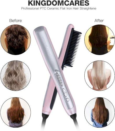 Hair Straightening Brush Anti Scald Hair Straightener Comb Pink KC288C