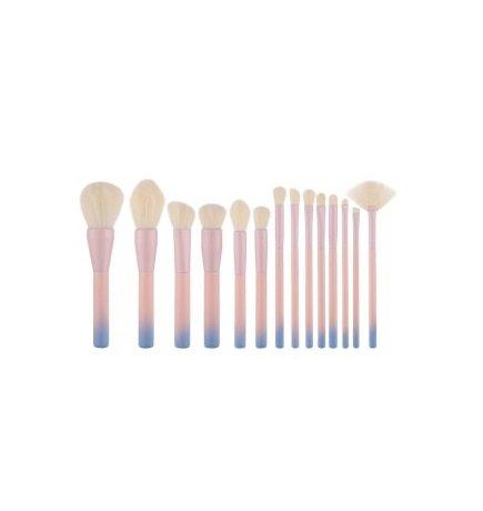 Gradient Color Pro 14pcs Makeup Brushes Set Wood Handle